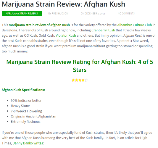 Strain Review Sample from MG - Afghan Kush